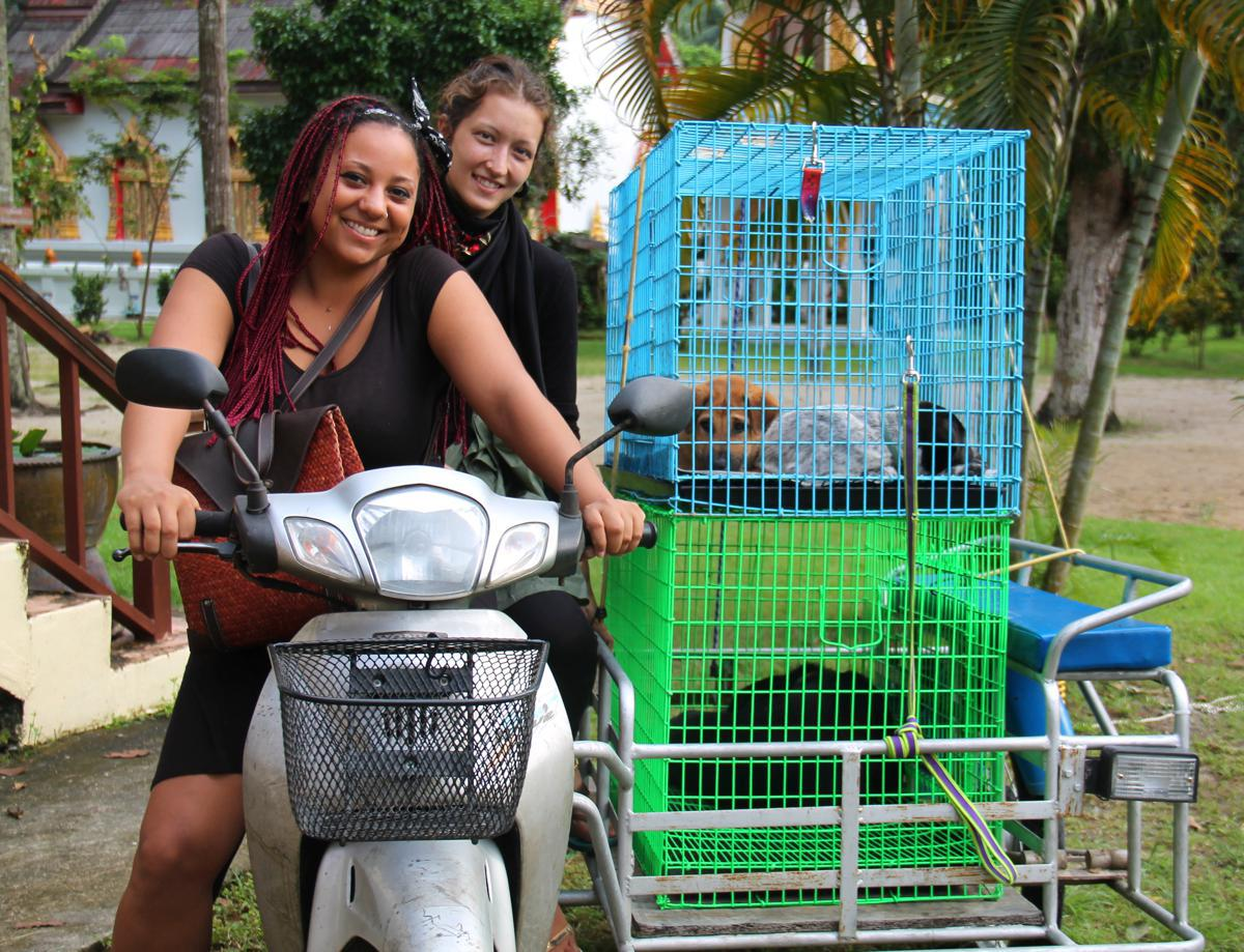 Jenni and Aimee with dog cages in scooter